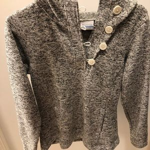 Grey Columbia sweater with hoodie